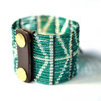 Traditional Maasai handicraft green bracelet.