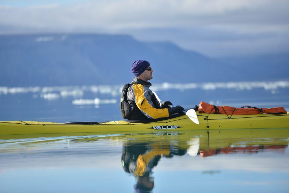 Kayaking at summer time in Spitsbergen