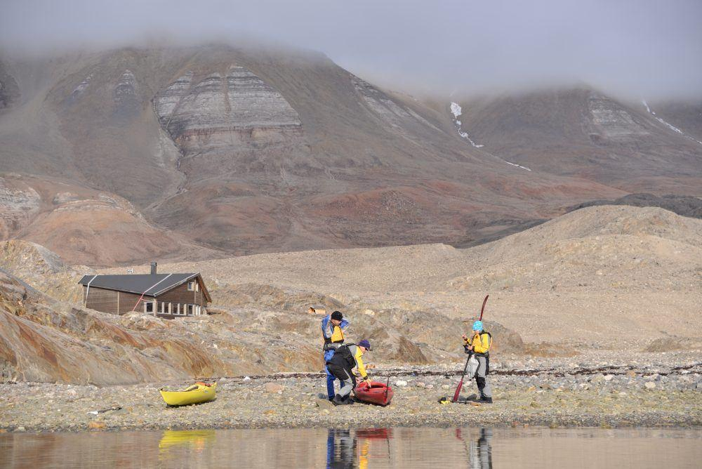 Kayaking at summer time in Spitsbergen