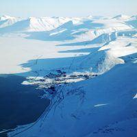 Aerial view of Longyearbyen in winter at Spitsbergen.
