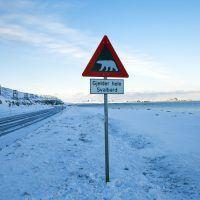 Danger of polar bears sign by road at Longyearbyen, Spitsbergen.