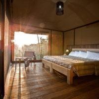 Guest bedroom at Basecamp Explorer Eagle View safari camp in Masai Mara, Kenya.