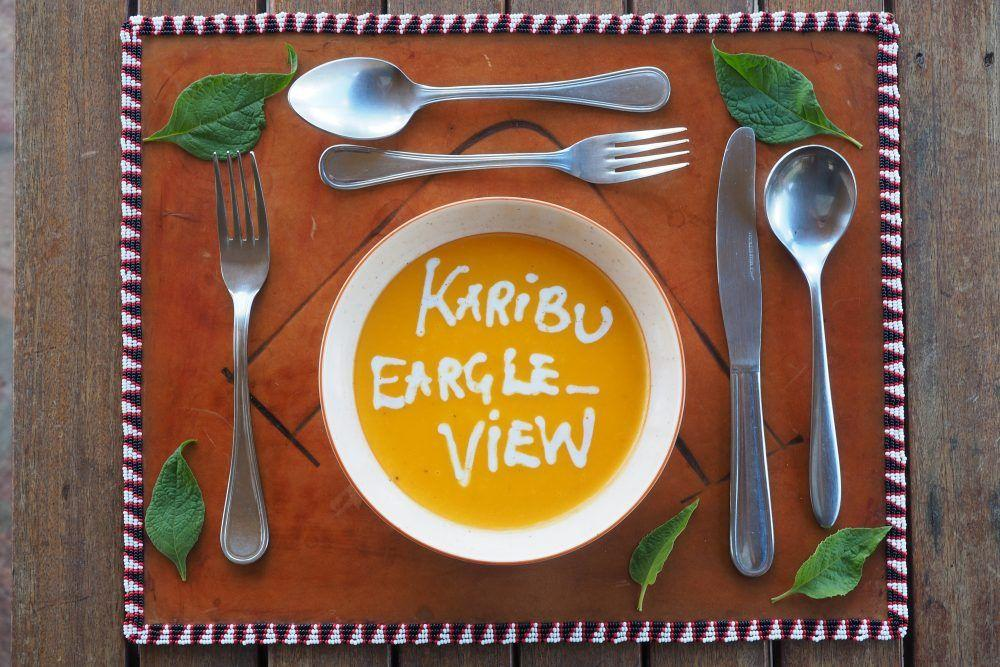 Closeup of tableware and food dish at Eagle View safari camp in Kenya.