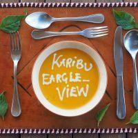 Closeup of tableware and food dish at Eagle View safari camp in Kenya.