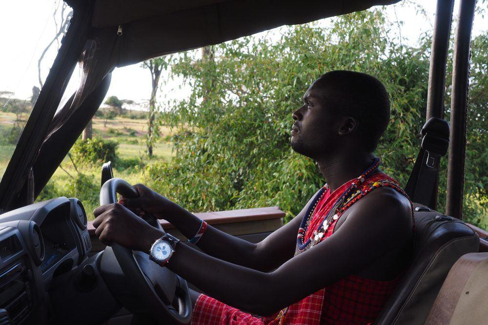 Maasai guide driving safari jeep through the African bush on game drive in Masai Mara, Kenya.