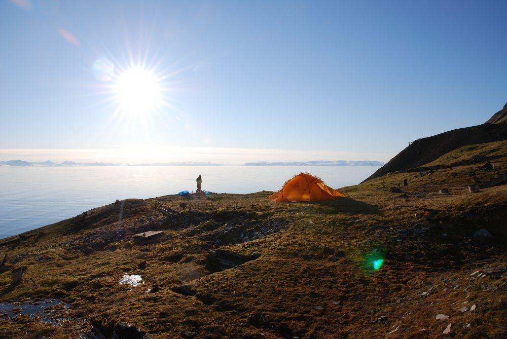 Hiking at Summer time in Spitsbergen