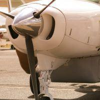 Closeup of aircraft propeller.