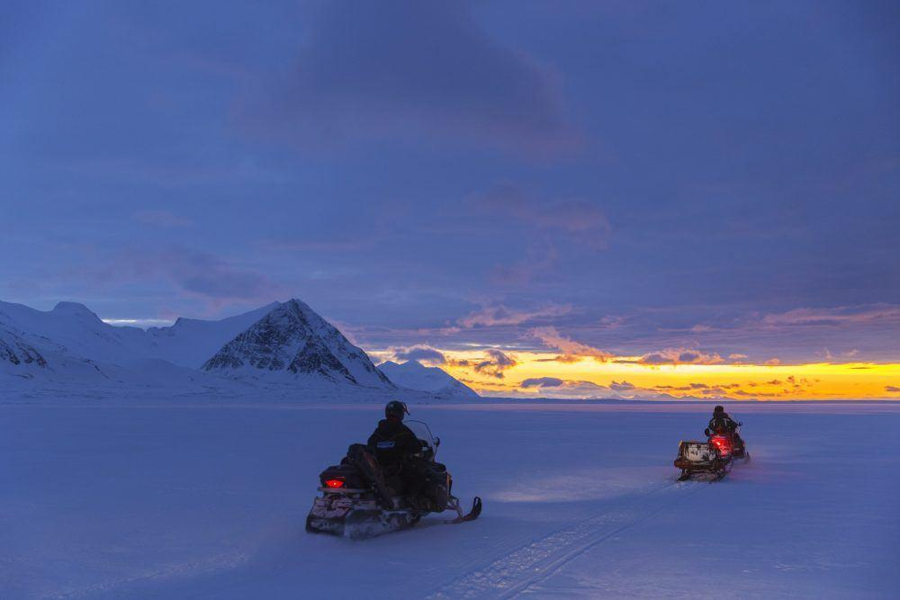 Snowmobiling Polar Night Spitsbergen
