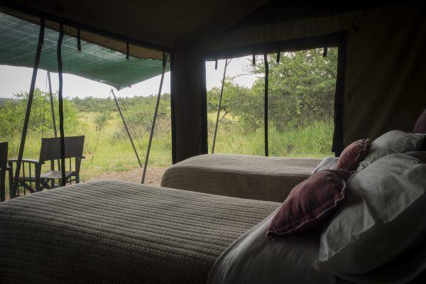 Guest bedroom at Basecamp Explorer Wilderness safari camp in Kenya.