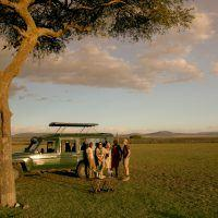 People standing next to safari jeep on the savannah in Masai Mara, Kenya.