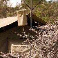 Closeup of guest shower at Basecamp Explorer Wilderness safari camp in Kenya.