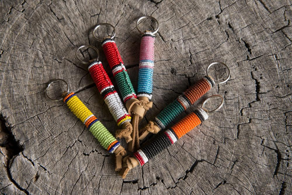 African Maasai beaded handicrafts, multicolor beaded keychain.