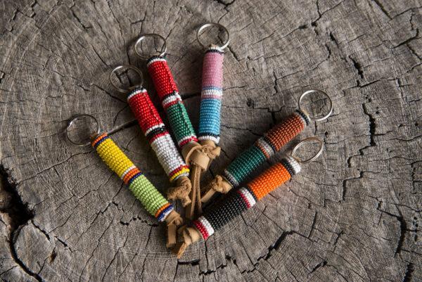 African Maasai beaded handicrafts, multicolor beaded keychain.