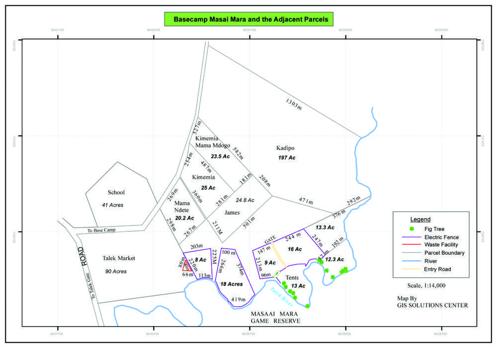 Map of Basecamp Explorer locations in Mara Naboisho Conservancy, Kenya.