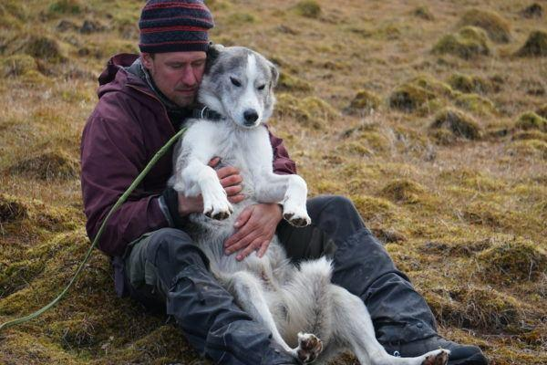 Man sitting on grass cuddling with husky dog on Svalbard.